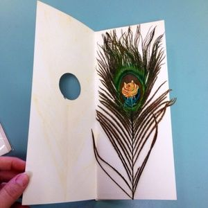 Vintage 30s  peacock feather painted Greeting Card